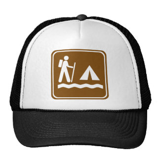 Hiking Trail with Lakeside Camping Highway Sign Trucker Hat