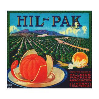Hil Pak Orange LabelLindsay, CA Gallery Wrapped Canvas