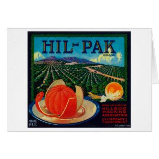 Hil Pak Orange LabelLindsay, CA Card