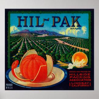 Hil Pak Orange LabelLindsay, CA Print