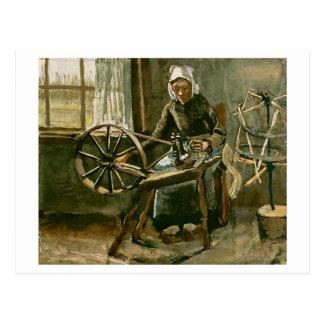 Hilado de vacilación de la mujer, Vincent van Gogh Tarjeta Postal