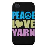 Hilado del amor de la paz iPhone 4 carcasas