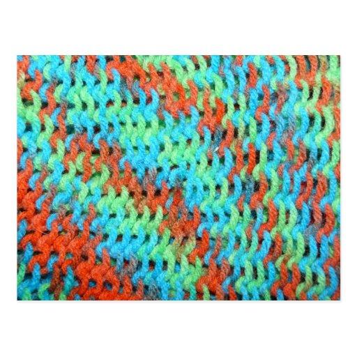 Hilado hecho punto en colores brillantes tarjeta postal