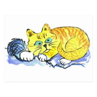 Hilado… ¿Qué hilado? pide Tig - gatito anaranjado Postal
