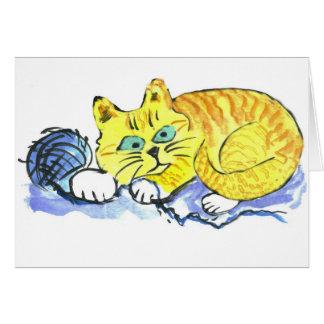 Hilado… ¿Qué hilado? pide Tig - gatito anaranjado Tarjeta De Felicitación
