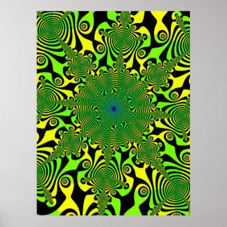 Hilandero de la mente en verde y amarillo póster