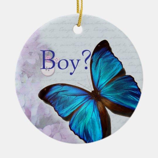 Hilandero del muchacho/del chica adorno navideño redondo de cerámica