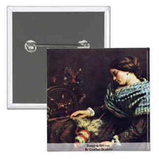 Hilandero durmiente de Courbet Gustavo Pin Cuadrada 5 Cm