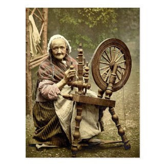Hilandero y rueda de hilado irlandeses. Co. Galway Postal