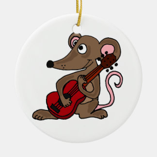 Hilarious Cartoon Mouse Playing Red Guitar Ceramic Ornament