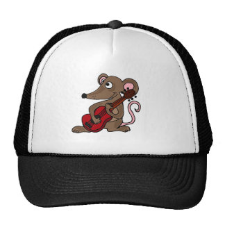 Hilarious Cartoon Mouse Playing Red Guitar Trucker Hats
