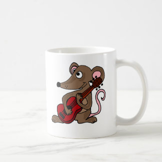 Hilarious Cartoon Mouse Playing Red Guitar Classic White Coffee Mug