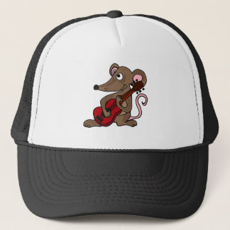 Hilarious Cartoon Mouse Playing Red Guitar Trucker Hat