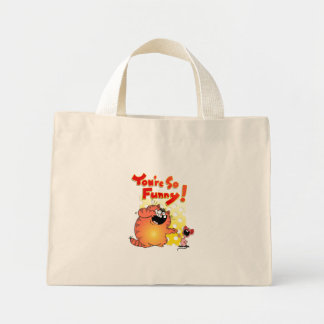 Hilarious Cat + Mouse | Funny Cartoon Cat + Mouse Mini Tote Bag