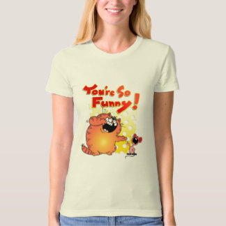 Hilarious Fat Cartoon Cat + Mouse   Silly Mouse T-Shirt