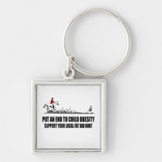 Hilarious fat kid Silver-Colored square keychain