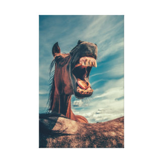 Hilarious Horse Smiling with Teeth and Tongue Canvas Print