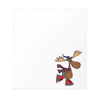Hilarious Ice Skating Moose Notepad