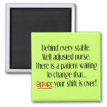 "Hilarious Nurse Gifts ""Behind Every Stable Nurse"" 2 Inch Square Magnet"