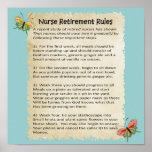 """Hilarious """"Nurse Retirement Rules"""" Poster 12x12"""""""