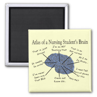 """Hilarious Nursing Student """"Brain"""" Gifts 2 Inch Square Magnet"""