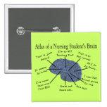 "Hilarious Nursing Student ""Brain"" Gifts Pinback Buttons"