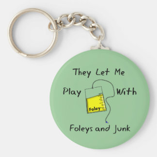 """Hilarious Nursing Student Gifts """"Foleys and Junk"""" Keychain"""
