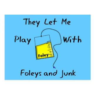"Hilarious Nursing Student Gifts ""Foleys and Junk"" Postcard"