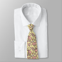 Hilarious pattern Chinese Pig Year Yellow Tie
