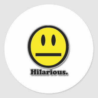 Hilarious Poker Face Smiley Classic Round Sticker