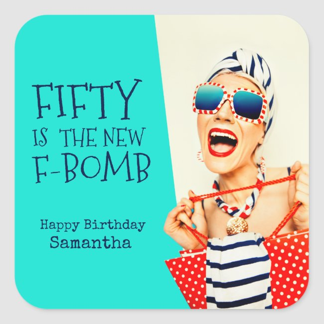 Hilarious Retro 50th Birthday for Her Square Sticker