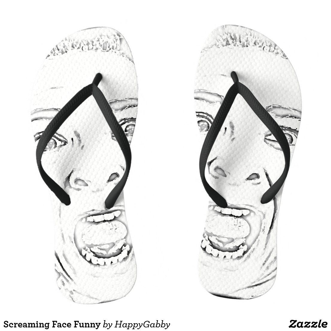 Funny Scared Lady Screaming Face Print Flip Flops