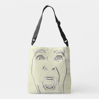 Hilarious Screaming Face Design Crossbody Bag
