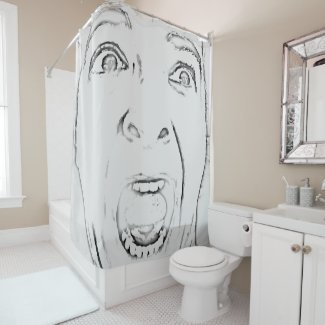 Hilarious Screaming Face Print Shower Curtain