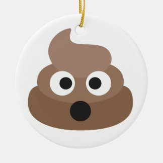 Hilarious shocked Emoji Poop Ceramic Ornament