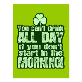 Hilarious St Patricks Day Drinking Postcard