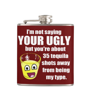 Hilarious Tequila Quote Hip Flask