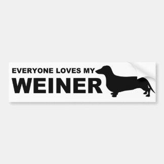 """Hilarious Weiner Dog """"Dachshund"""" Quote Bumper Sticker"""