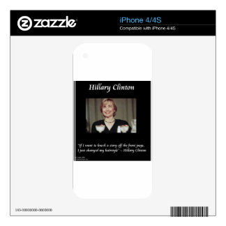 Hilary Clinton Hairstyles & Headlines Quote iPhone 4S Skins