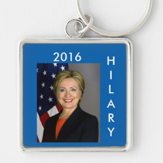 Hilary Clinton Key Ring Silver-Colored Square Keychain