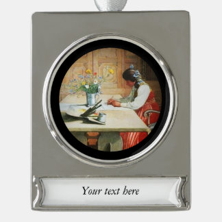 Hilda at the Drawing Table Silver Plated Banner Ornament