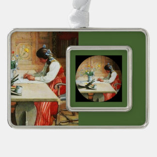 Hilda at the Drawing Table Silver Plated Framed Ornament
