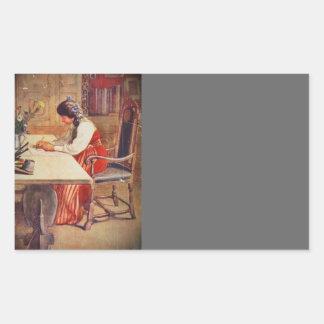 Hilda en la tabla del arte pegatina rectangular