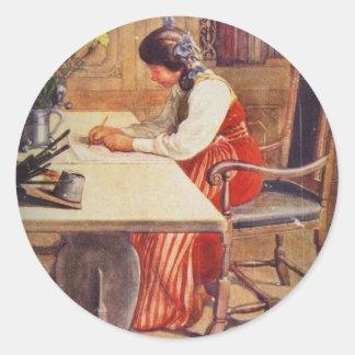 Hilda en la tabla del arte pegatina redonda