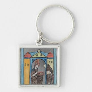 Hildegard de Bingen Llavero Cuadrado Plateado