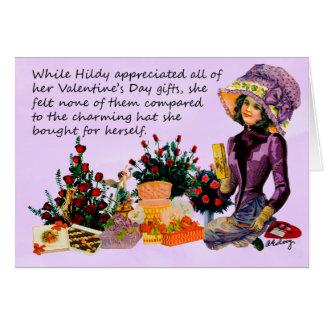 Hildy y su espacio en blanco Notecard del gorra Tarjeta Pequeña