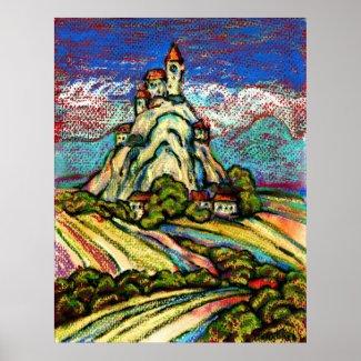 Hill Castle Fantasy print