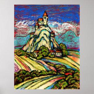 Hill Castle Fantasy Poster