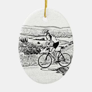 Hill climbing ceramic ornament