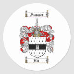 HILL FAMILY CREST -  HILL COAT OF ARMS CLASSIC ROUND STICKER
